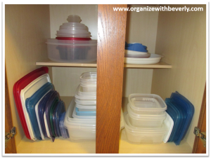Example A - Organized Food Storage Containers in Cabinet