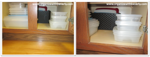 Example B - Organized Food Storage Containers in Cabinet