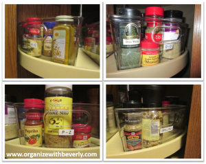 Labeled Lazy Susan Cabinet Bins